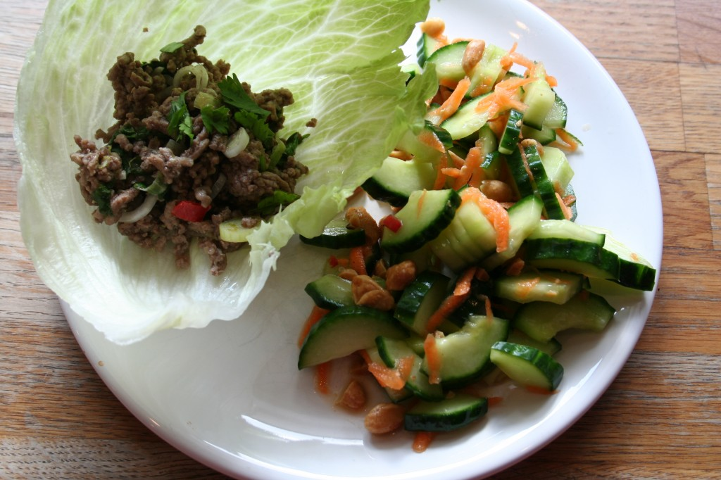 beef wraps with cucumber carrot salad