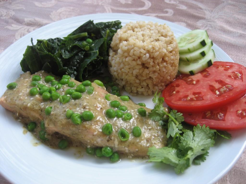 Salmon, rice, kale