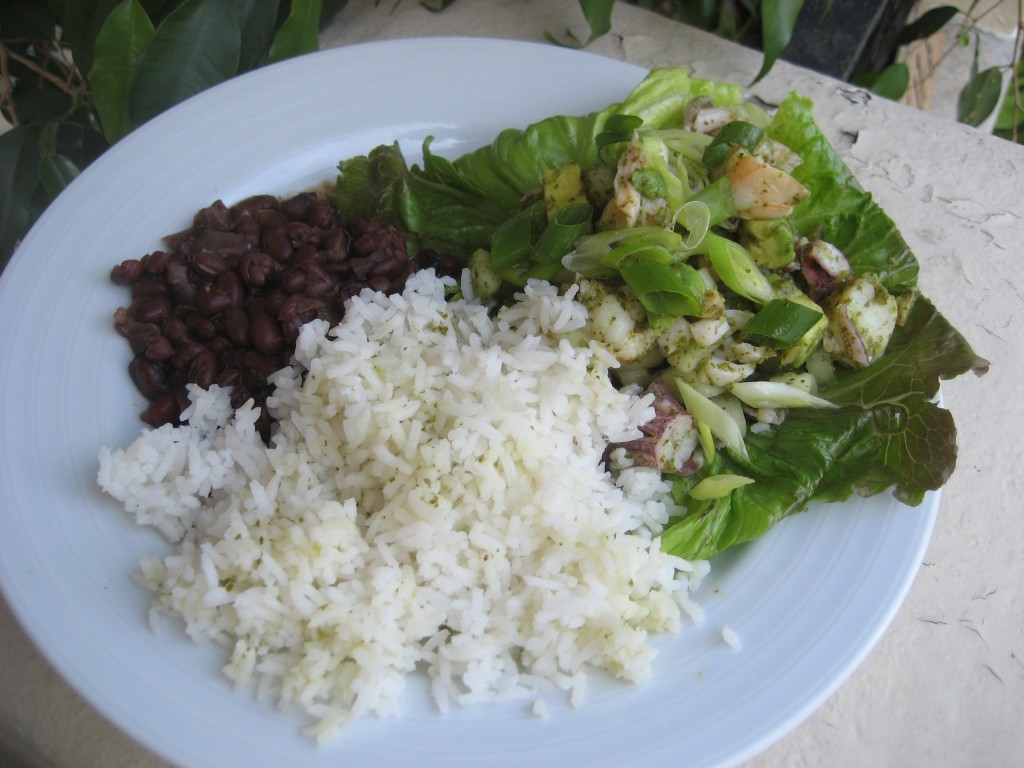 Ceviche, rice, and beans