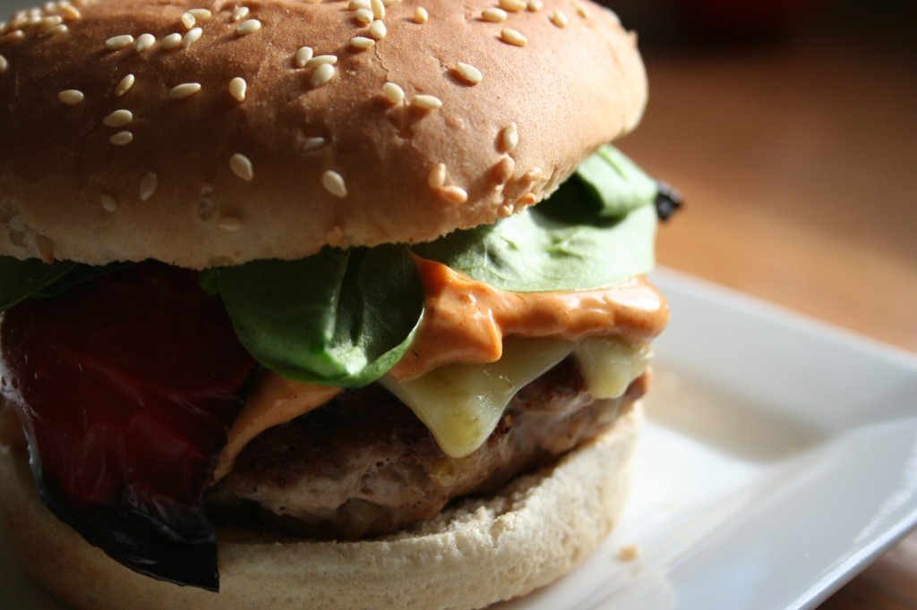 turkey burger with smoky aioli