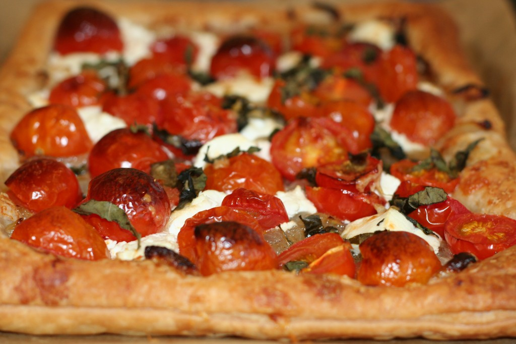 Tomato and goat s cheese tart with potato spinach and red Ina garten goat cheese tart