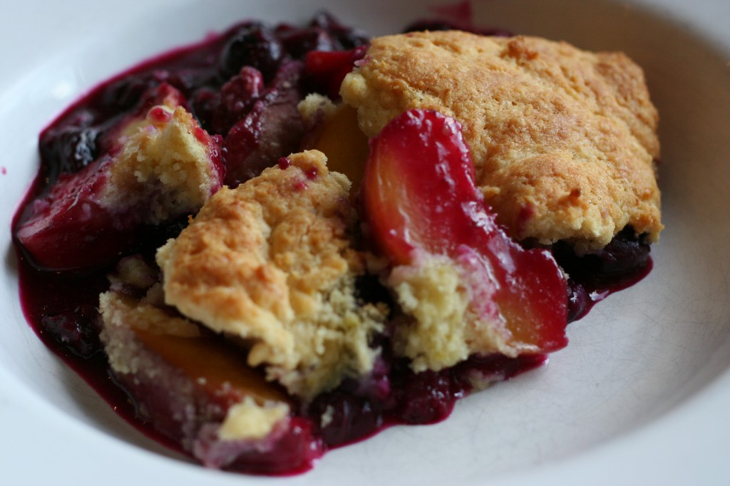 peach and blueberry sour cream cobbler