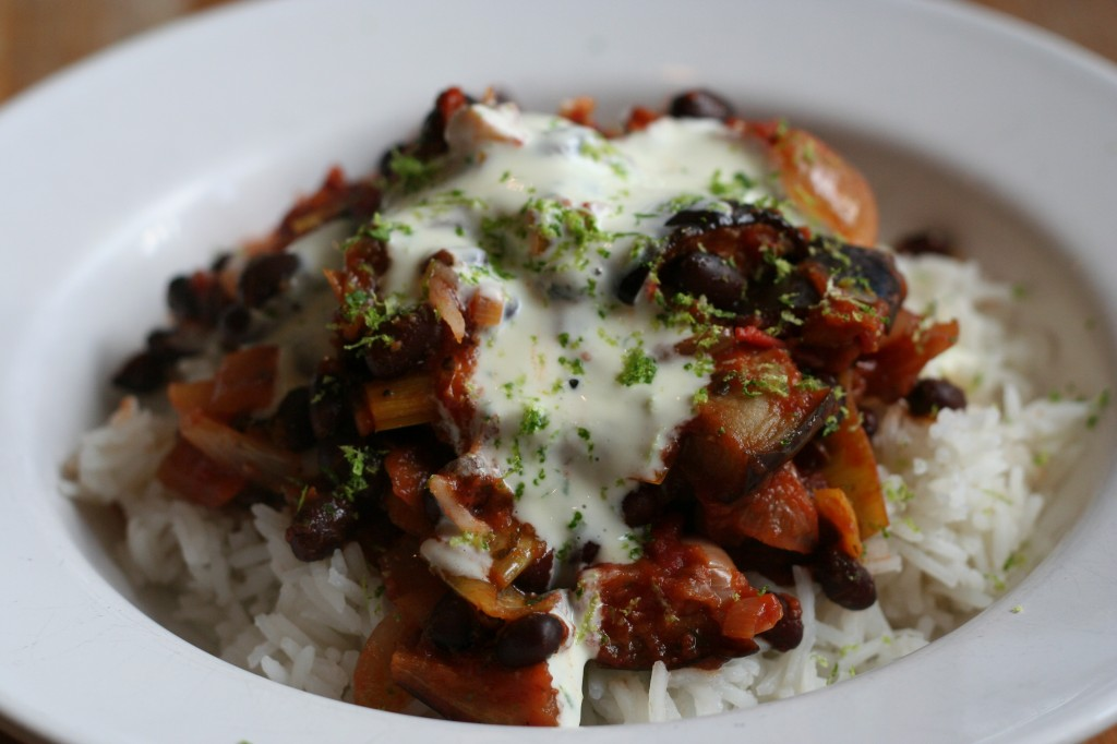 black bean, eggplant and leek chili with lime sour cream