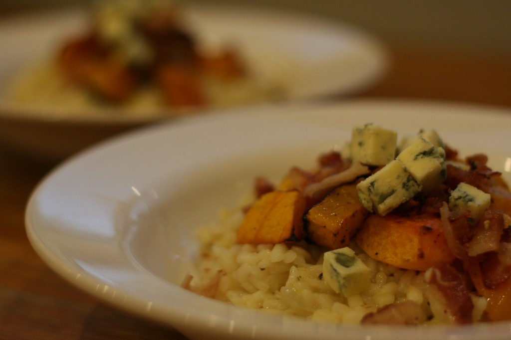 risotto with roasted butternut squash, bacon and blue cheese