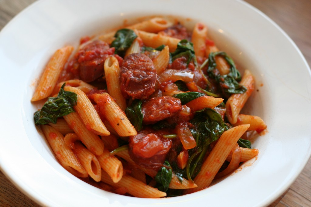 penne with chorizo and spinach