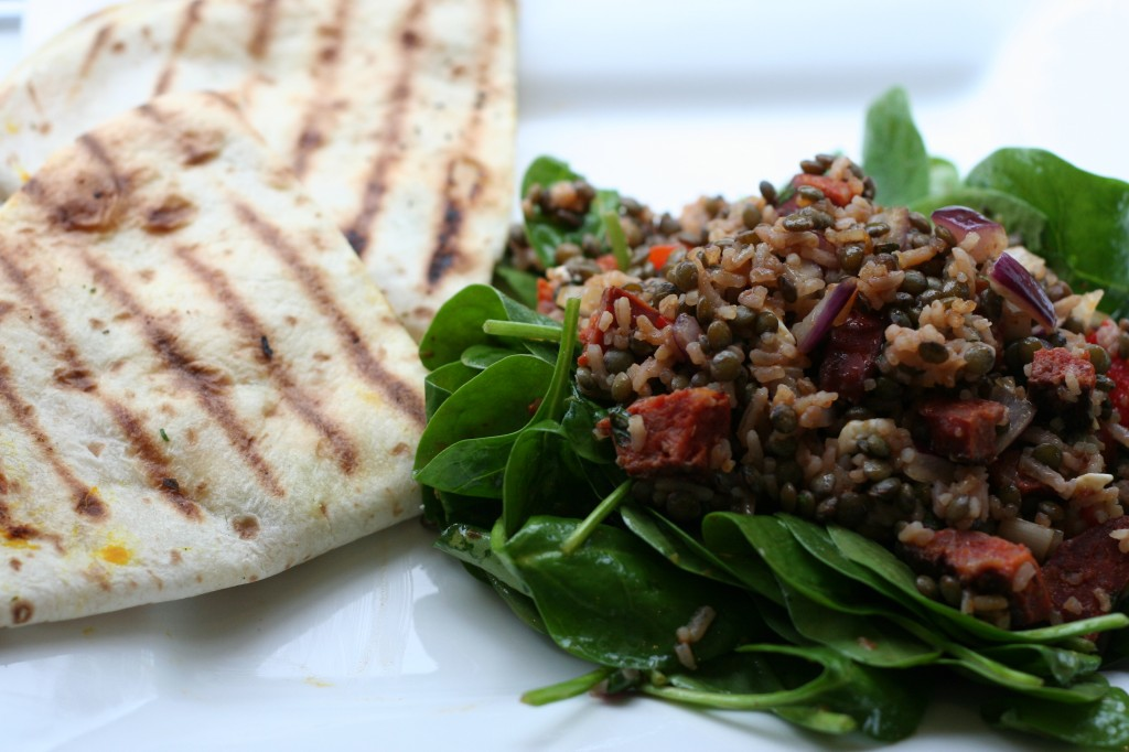 pumpkin quesadillas with lentil-rice salad