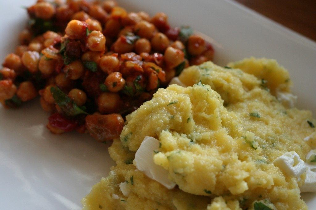 spiced chickpea salad and polenta with feta and cilantro