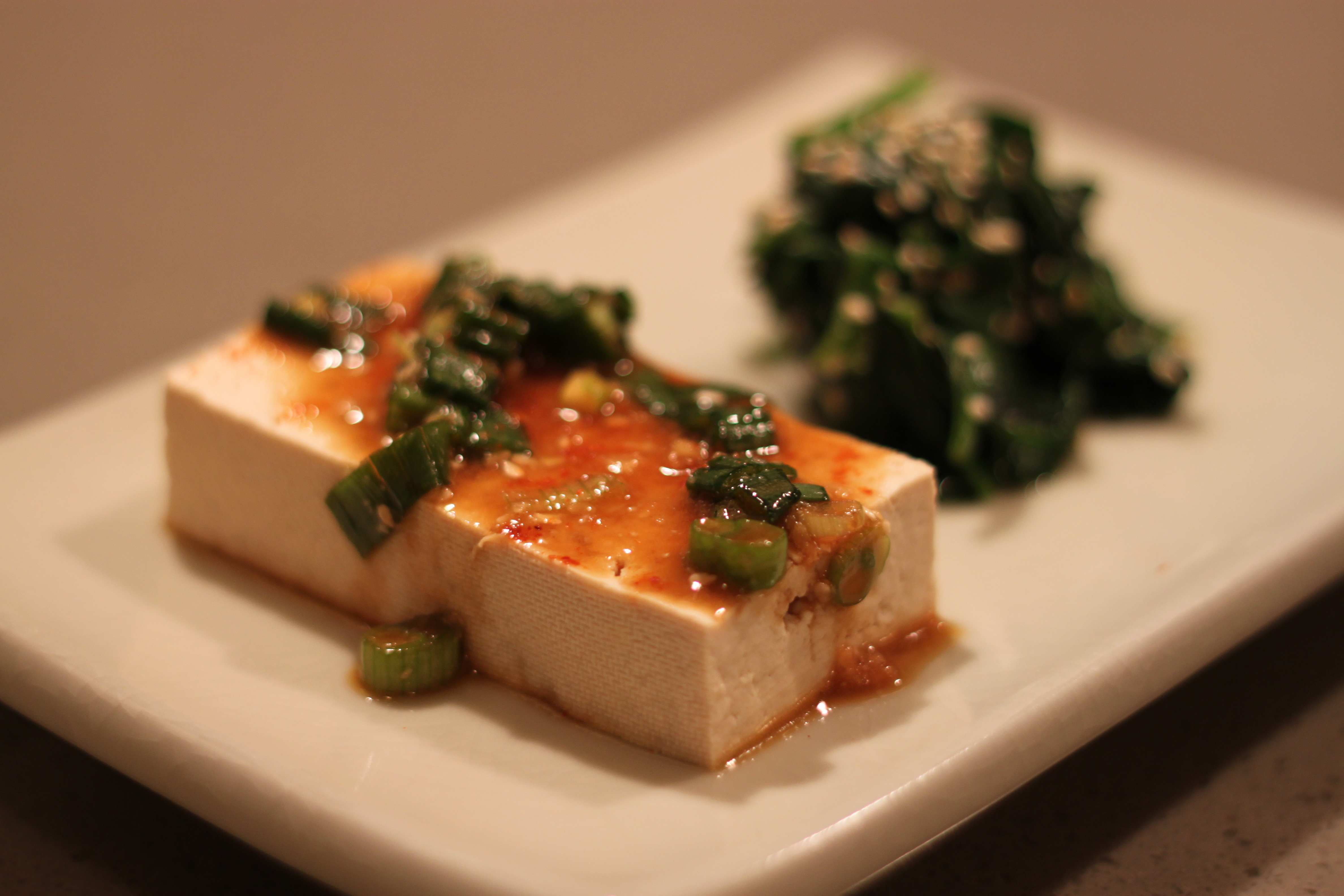 Warm Tofu with Spicy Garlic Sauce, Rice, and Steamed Spinach, Japanese ...