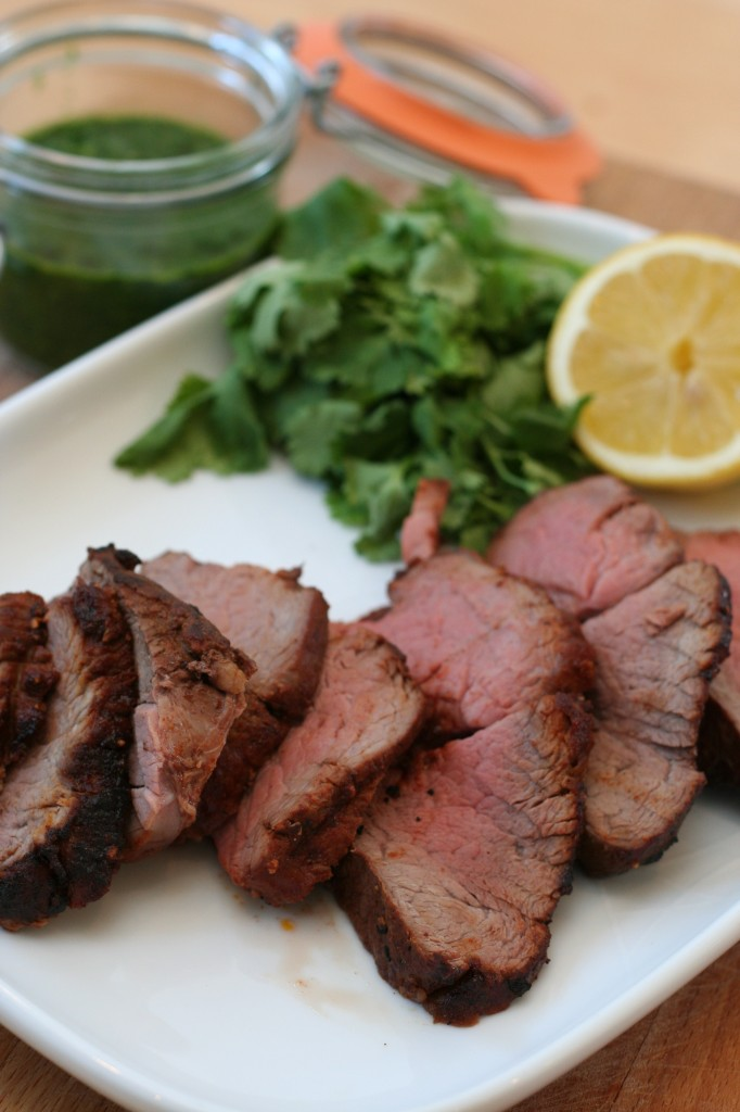 Beef Tenderloin with Three-herb Chimichurri and Sweet Potato Wedges