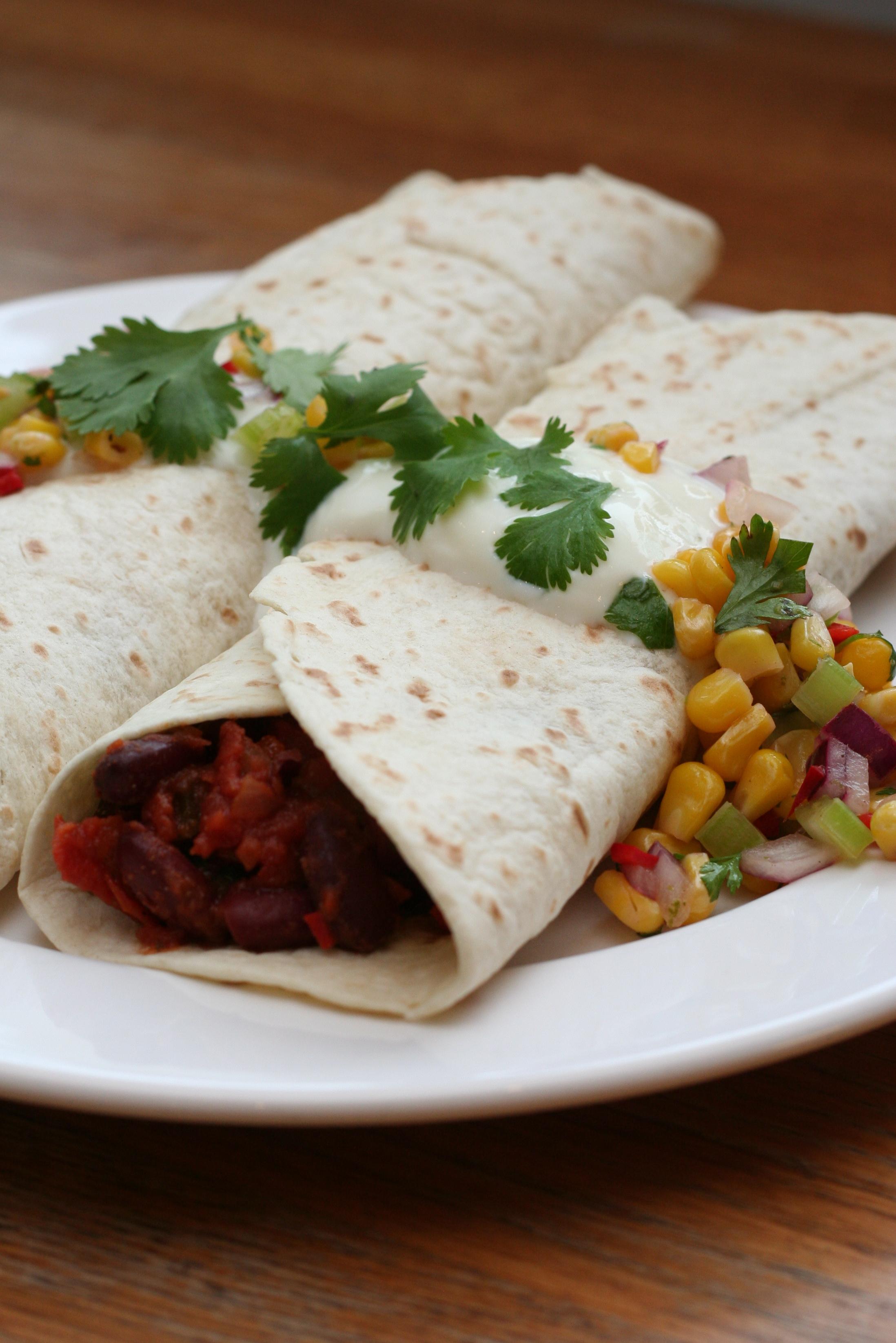 chili bean burritos with corn salsa