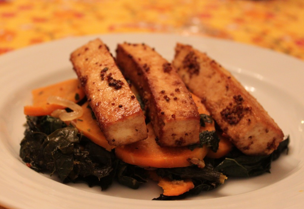 Mustard Crusted Tofu with Sweet Potatoes and Kale