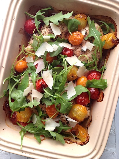 Balsamic Roast Chicken With Rocket Roast Tomatoes And