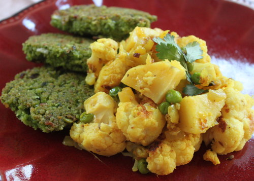 Split pea fritters with indian spiced cauliflower and potatoes
