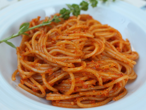 Spaghetti with Red Pepper-Toasted Almond Pesto