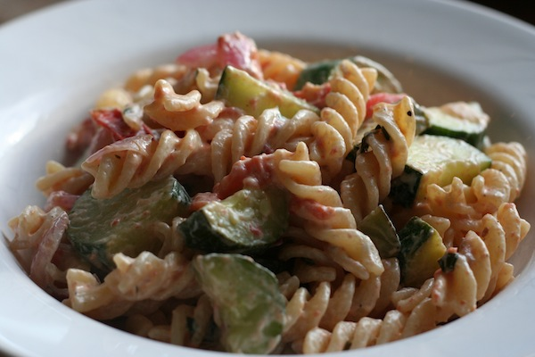fusilli with zucchini, tomatoes and bacon